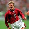 David Beckham con la maglia della Inghilterra 1998 Ospiti