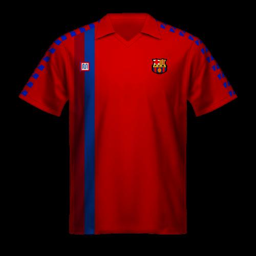 Camiseta FC Barcelona 1988/89, tercera equipación roja
