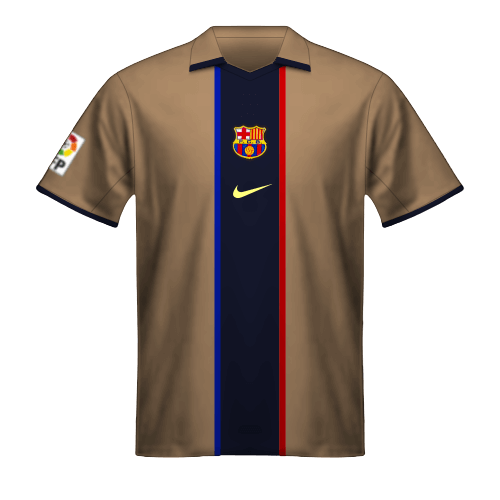 Camiseta FC Barcelona 2001/02 segunda equipación dorada