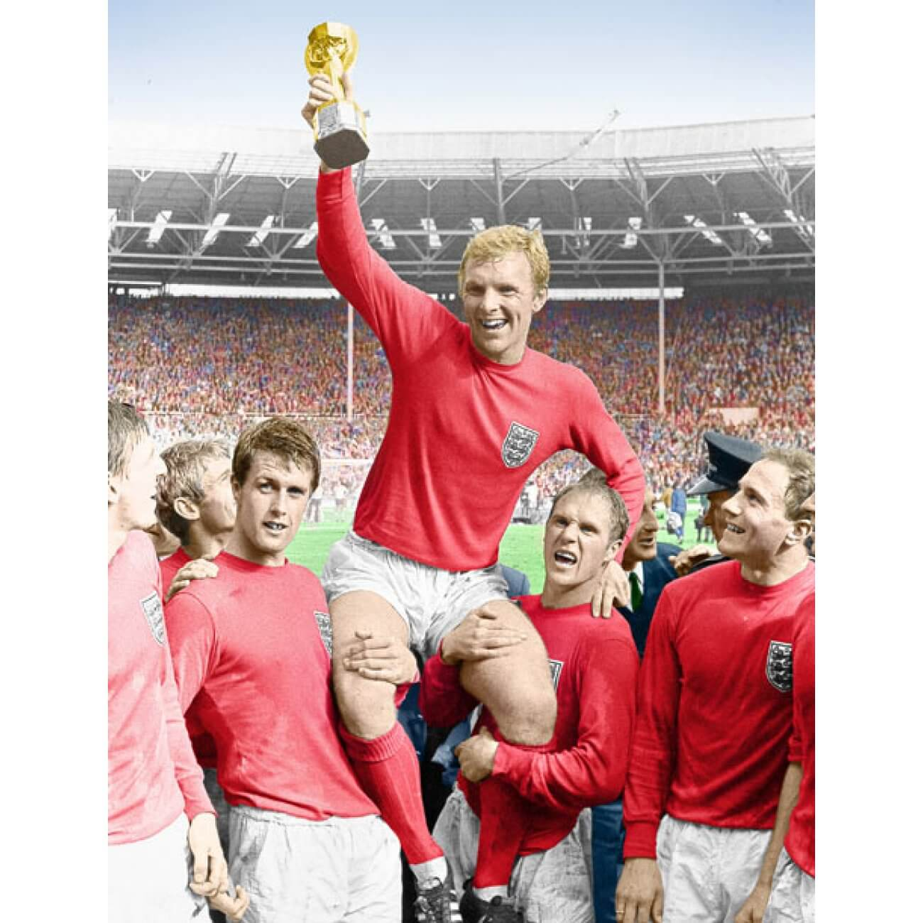 Bobby Moore con la Copa del Mundo de 1966 de la selección inglesa